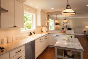 Traditional Kitchen with Hammersmith subway tile, Simple granite counters, Kitchen island, Flat panel cabinets, Subway Tile