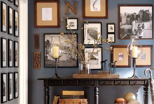 Traditional Hallway with High ceiling, Tivoli Large Console Table Artisanal Black Stain, Pendant light, Gallery wall