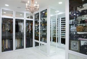 Traditional Closet with Built-in bookshelf, French doors, simple marble floors, Standard height, Chandelier, can lights