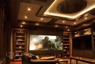 Craftsman Home Theater with Built-in bookshelf, Hardwood floors