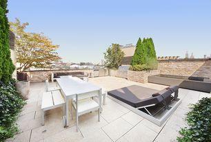 Contemporary Patio with exterior tile floors, Outdoor kitchen, Deck Railing, exterior concrete tile floors, Trellis