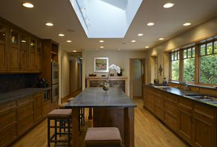 Contemporary Kitchen with Soapstone counters, Flush, Kitchen island, Stone Tile, U-shaped, Flat panel cabinets, Slate Tile