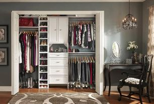 Traditional Closet with Chandelier, Hardwood flooring, Af lighting naples 8351-4h mini chandelier - black, Hardwood floors