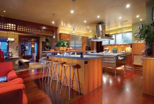 Modern Kitchen with can lights, electric cooktop, Breakfast bar, Casement, Pendant light, Paint 1, Stainless steel counters