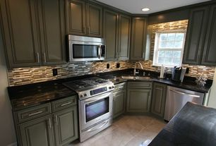 Modern Kitchen with gas range, L-shaped, Soapstone counters, built-in microwave, Standard height, Crown molding, dishwasher