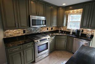 Modern Kitchen with Ceramic Tile, Ms International Premium Black Granite, sandstone tile floors, Mosaic wall tiles, L-shaped