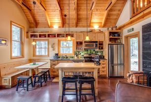 Rustic Kitchen with Belfast saddle bar stool, Undermount sink, Wood counters, flush light, Flat panel cabinets, Exposed beam