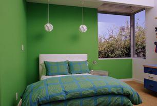 Contemporary Guest Bedroom with Pendant light, Built-in bookshelf, Possini Euro White Flower Pendant Chandelier, High ceiling