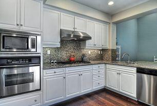 Modern Kitchen with Flush, Undermount sink, Home Legend Hand Scraped Maple Modena Solid Hardwood Flooring, Simple Granite