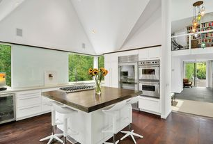 Modern Kitchen with Paint 1, Global furniture - bar stool in white, Vaulted ceiling, double wall oven, Breakfast bar, Flush