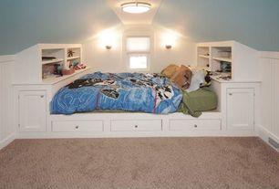 Cottage Kids Bedroom with double-hung window, Wall sconce, Bunk beds, Standard height, flush light, Built-in bookshelf