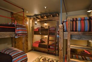 Rustic Kids Bedroom with Standard height, flat door, can lights, Bunk beds, Grainger Structural Pipe Fitting, Concrete floors