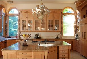 Traditional Kitchen with Raised panel, Stone Tile, U-shaped, Simple granite counters, Chandelier, Kitchen island, flush light