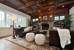 Living Room with Wall sconce, Box ceiling, interior wallpaper, stone fireplace, Ceiling fan, Built-in bookshelf