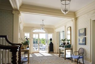 Traditional Hallway with flush light, interior wallpaper, French doors, Arched window, Hardwood floors, High ceiling