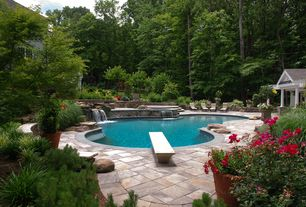 Traditional Swimming Pool with Pathway, Other Pool Type, exterior stone floors, Fence, Fountain