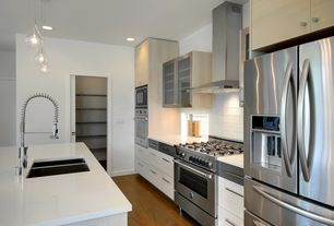 Contemporary Kitchen with Large Ceramic Tile, Flush, One-wall, European Cabinets, Kitchen island, Pendant light, Glass panel