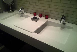 Modern Full Bathroom with Waterfall vessel faucet, Subway Tile, Pental quartz crystal white quartz with integrated sink