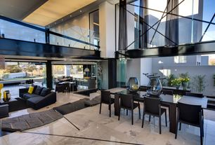 Contemporary Great Room with Cathedral ceiling, Zero Allright Pendant, simple marble tile floors, Loft, French doors