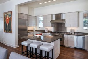 Contemporary Kitchen with Casement, Multiple Sinks, Recessed lighting, Dupont - corian flint, Kitchen island, Paint 1, Flush