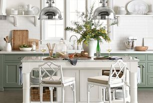 Country Kitchen with Harmon Pendant, Breakfast bar, Kitchen island, Limestone counters, One-wall, Flat panel cabinets