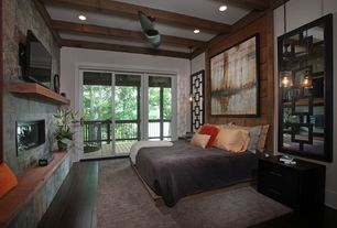 Contemporary Master Bedroom with can lights, Pendant light, Standard height, Exposed beam, Ceiling fan, sliding glass door