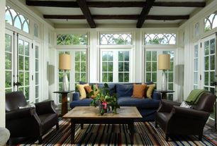 Traditional Living Room with French doors, Box ceiling, Carpet