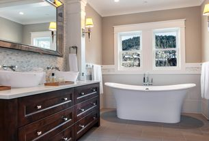 "Contemporary Master Bathroom with Corian counters, 68"" KATERYN BATEAU CAST IRON SKIRTED TUB, double-hung window, Paint, Flush"