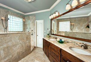 Traditional Master Bathroom with Travertine counters, Master bathroom, specialty door, flush light, Flush, Double sink