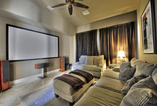 Modern Home Theater with sandstone tile floors, Signature Design by Ashley Wynnmere Isle Chair and a Half and Ottoman