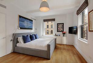 Contemporary Master Bedroom with flush light, Exposed beam, Hardwood floors