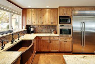 Rustic Kitchen with Kitchen island, Complex granite counters, Somertile posh penny round mosaic tile, Flush, L-shaped
