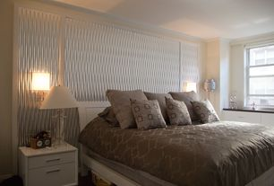 Contemporary Master Bedroom with Crown molding, Built-in bookshelf, Atlantic Furniture - Urban Lifestyle Metro Headboard