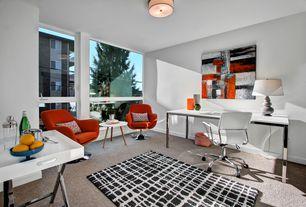 Modern Home Office with Upton Home Vivica Cream Reptile Contemporary Desk, Carpet, flush light