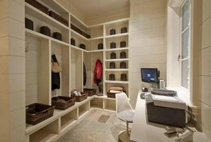 Contemporary Mud Room with Casement, Standard height, Built-in bookshelf, can lights, slate tile floors, stone tile floors