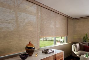 Modern Living Room with Hunter Douglas Alustra Woven Textures Roman Shades, picture window, Hardwood floors, Standard height