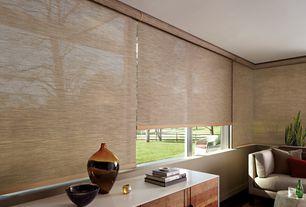 Modern Living Room with Pfeifer Studio Painted Wood Stool, Hardwood floors, Mid Century Modern Walnut Dresser White Top