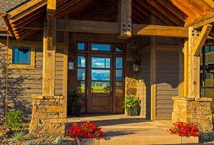 Country Front Door with Glass panel door, Transom window, exterior stone floors, Pathway