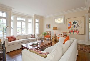 Traditional Living Room with Laminate floors, Crown molding