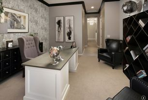 Contemporary Home Office with Crown molding, interior wallpaper, Carpet