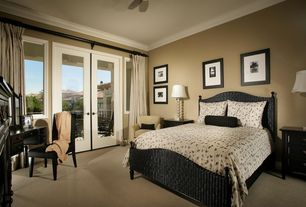 Modern Guest Bedroom with Carpet, Marco island refined cinnamon queen sized bed, Ceiling fan, French doors, Crown molding