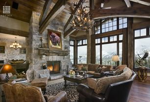 Country Great Room with Black Bear Manufactured Stone - Stack-N-Tack in Colorado Gray, Ceiling fan, High ceiling, Chandelier