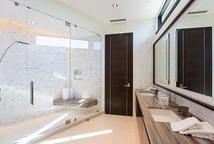 Modern Master Bathroom with frameless showerdoor, Undermount sink, European Cabinets, Double sink, Rain shower, Flush