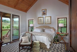 Craftsman Master Bedroom with Hardwood floors, Exposed beam, High ceiling
