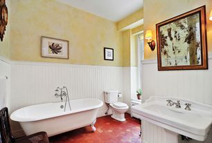 Cottage Full Bathroom with Standard height, Wall sconce, picture window, Bathtub, Solistone, Hexagano Terra Cotta flooring