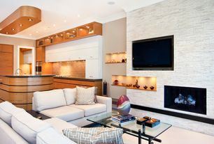 Contemporary Great Room with Paint 1, Carpet, Fireplace, Standard height, Plinsky coffee table, Crown molding, can lights