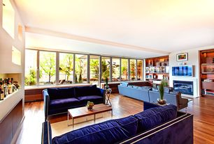 Contemporary Living Room with insert fireplace, Glass panel door, Fireplace, Built-in bookshelf, Standard height