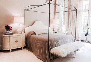 Eclectic Guest Bedroom with interior wallpaper, High ceiling, Hardwood floors