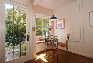 Cottage Kitchen with Hardwood floors, Window seat, Sea gull lighting 6519-65 blue painted shade 1 light barn light pendant
