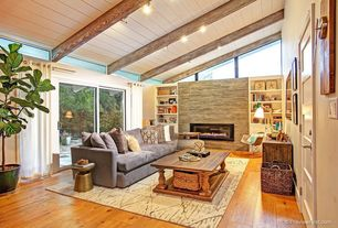 Rustic Living Room with Built-in bookshelf, picture window, insert fireplace, flush light, Standard height, Exposed beam